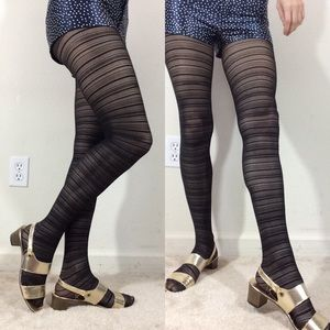 Hot Topic Accessories - Printed Striped Black Gothic Tights